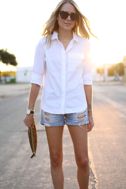 fashion-jackson-karen-walker-sunglasses-topshop-white-button-up-shirt-ripped-denim-shorts-clare-v-leopard-clutch