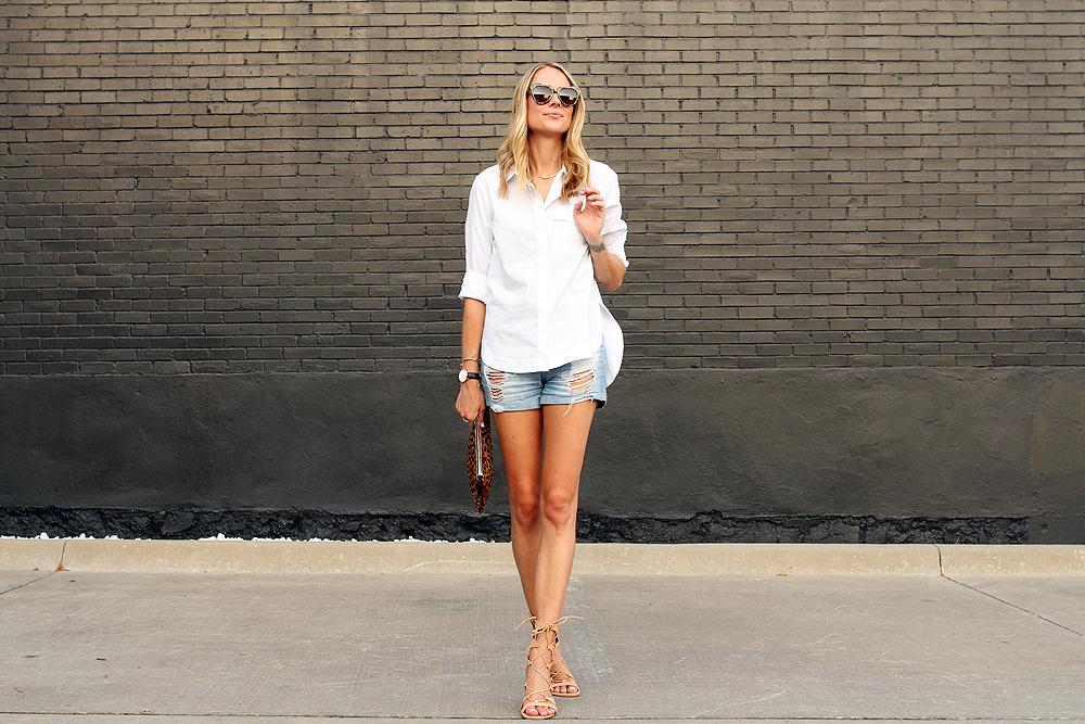 fashion-jackson-ripped-denim-shorts-topshop-white-button-up-shirt-clare-v-leopard-clutch-schutz-lace-up-gladiator-sandals