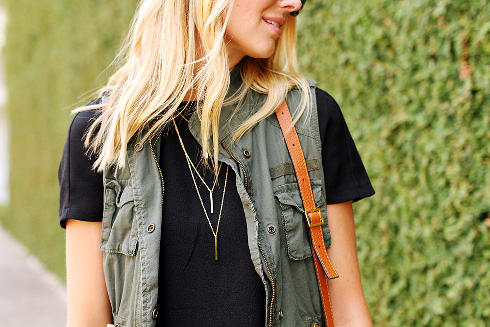 fashion-jackson-short-sleeve-black-dress-olive-utility-vest-gold-layered-necklace