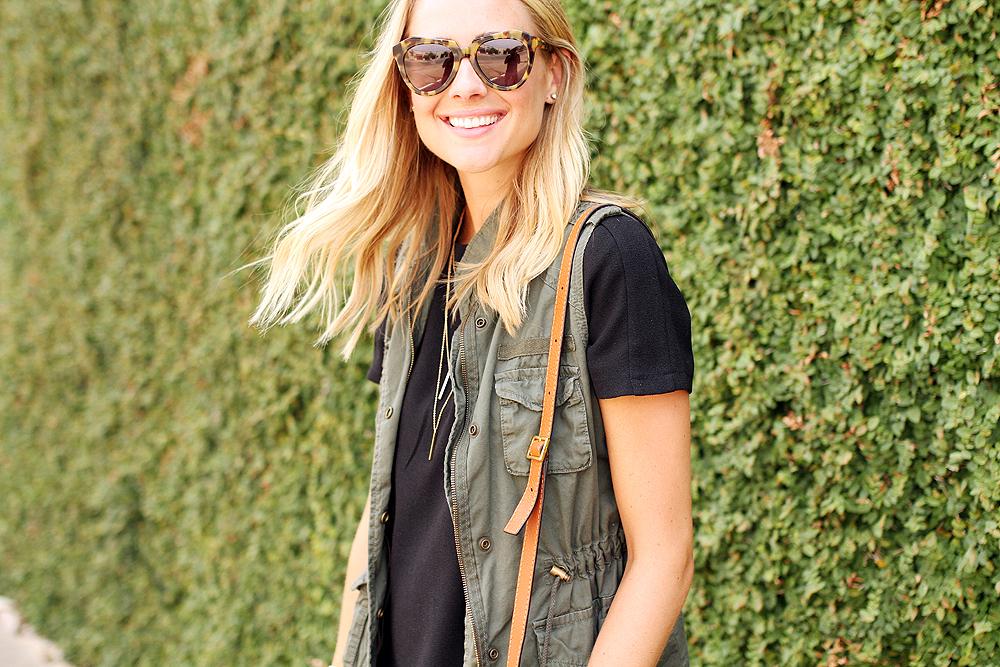 fashion-jackson-short-sleeve-black-dress-olive-utility-vest-karen-walker-number-one-sunglasses