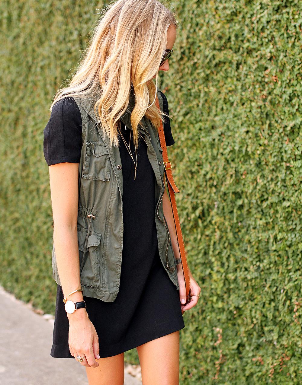 fashion-jackson-short-sleeve-black-dress-olive-utility-vest