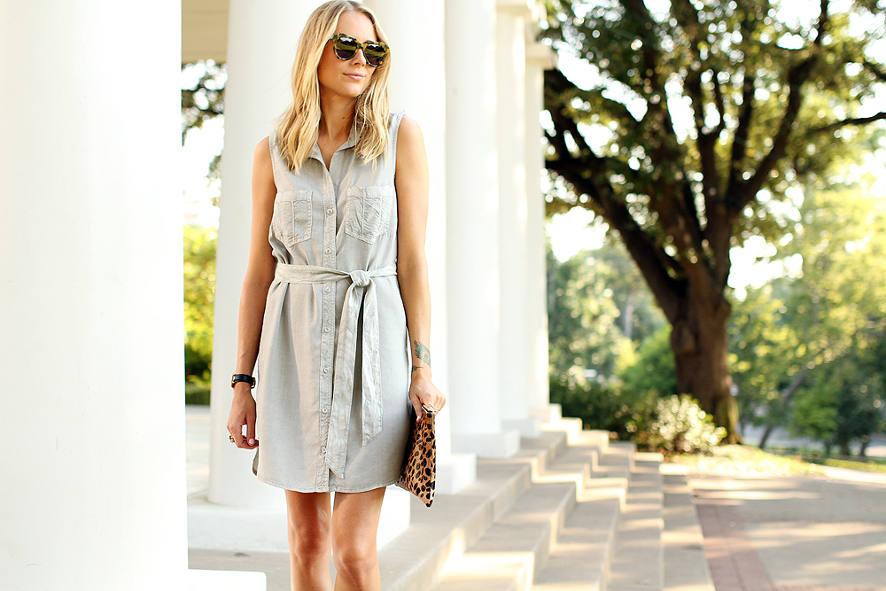 fashion-jackson-sleeveless-tencel-shirt-dress-clare-v-leopard-clutch-karen-walker-number-one-sunglasses