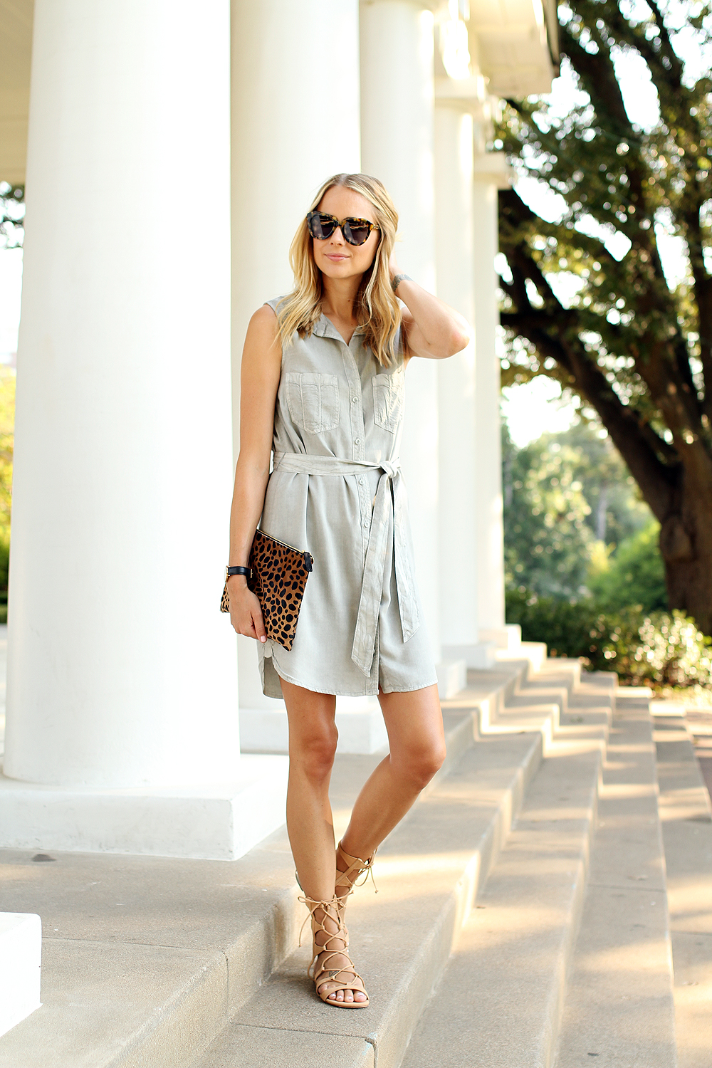 fashion-jackson-sleeveless-tencel-shirt-dress-schutz-lina-lace-up-gladiators-clare-v-leopard-clutch-karen-walker-number-one-sunglasses