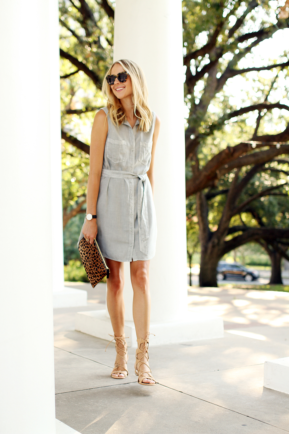 fashion-jackson-sleeveless-tencel-shirt-dress-schutz-lina-lace-up-gladiators-karen-walker-number-one-sunglasses-clare-v-leopard-clutch