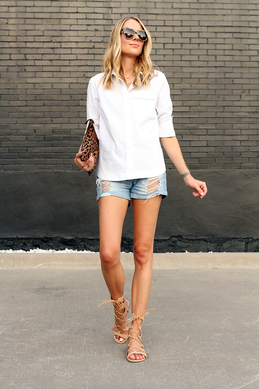 fashion-jackson-topshop-white-button-up-shirt-ripped-denim-schutz-lace-up-gladiator-sandals-shorts-clare-v-leopard-clutch