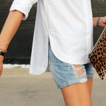 fashion-jackson-topshop-white-button-up-shirt-ripped-denim-shorts-clare-v-leopard-clutch