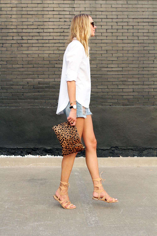 fashion-jackson-topshop-white-button-up-shirt-ripped-denim-shorts-clare-v-leopard-clutch-schutz-lace-up-gladiator-sandals