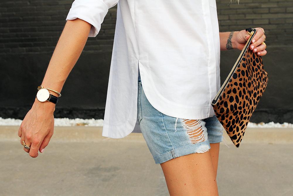fashion-jackson-topshop-white-button-up-shirt-ripped-denim-shorts-clare-v-leopard-clutch