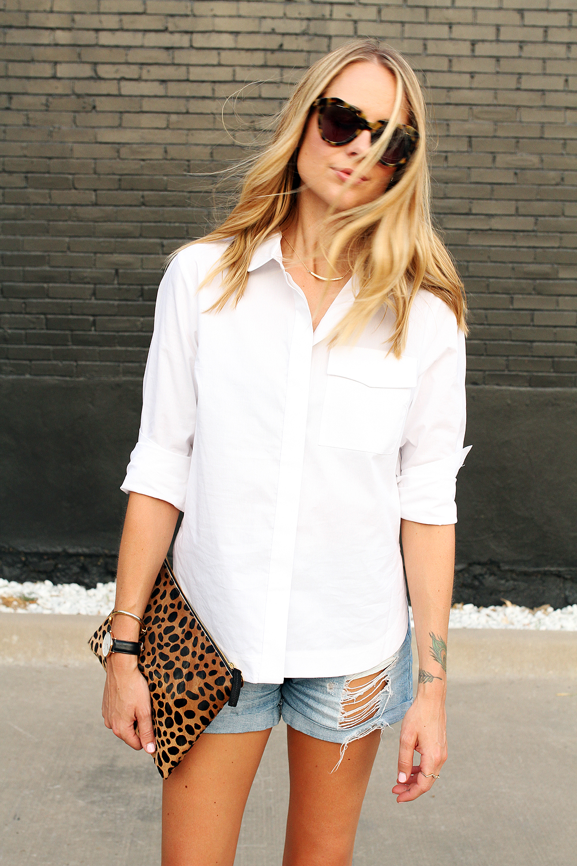 fashion-jackson-topshop-white-button-up-shirt-ripped-denim-shorts-karen-walker-sunglasses-clare-v-leopard-clutch