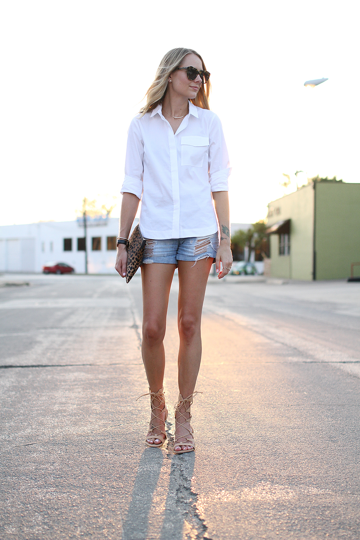 fashion-jackson-topshop-white-button-up-shirt-ripped-denim-shorts-schutz-lace-up-gladiator-sandals