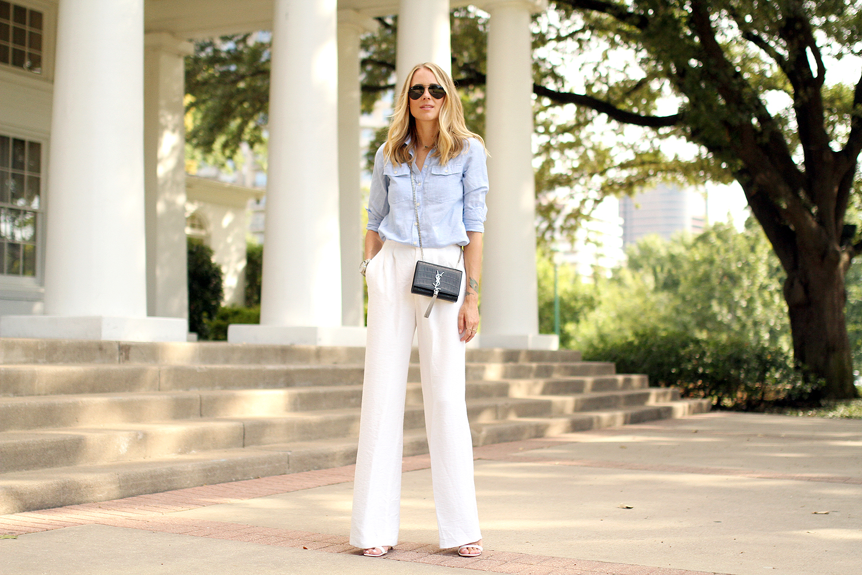 White Wide Leg Pants Fashion Jackson