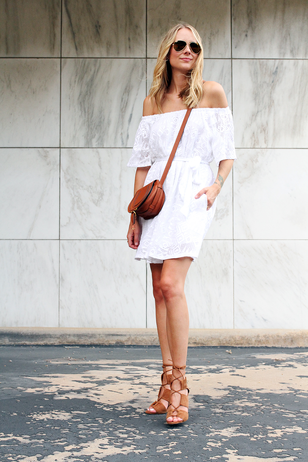 fashion-jackson-zara-tan-lace-up-heels-banana-republic-white-lace-off-the-shoulder-dress-chloe-tan-marcie-crossbody