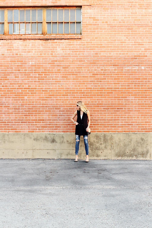 fashion-jackson-banana-republic-black-long-line-vest-ripped-skinny-jeans