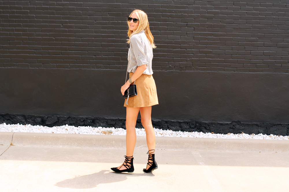 fashion-jackson-black-and-white-stripe-shirt-topshop-tan-suede-button-front-skirt-jeffery-campbell-black-lace-up-flats