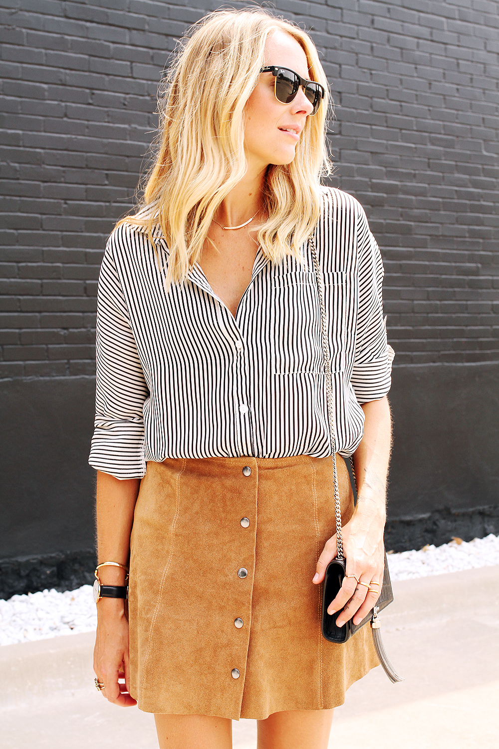fashion-jackson-black-and-white-stripe-shirt-topshop-tan-suede-button-front-skirt-ray-ban-sunglasses