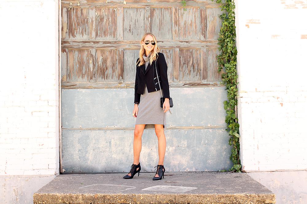 fashion-jackson-black-moto-jacket-grey-turtleneck-dress-black-lace-up-booties
