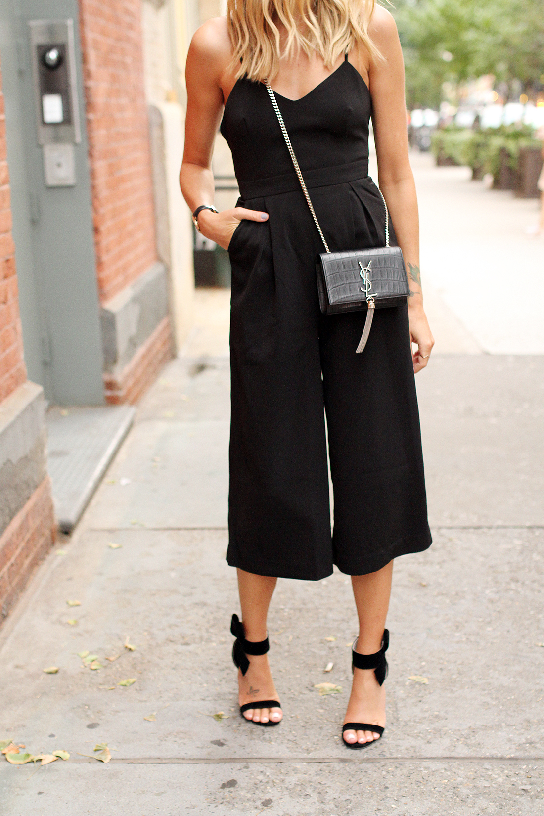 fashion-jackson-cameo-power-trip-jumpsuit-saint-laurent-cassandre-crossbody-handbag-black-bow-heels-nyfw-street-style