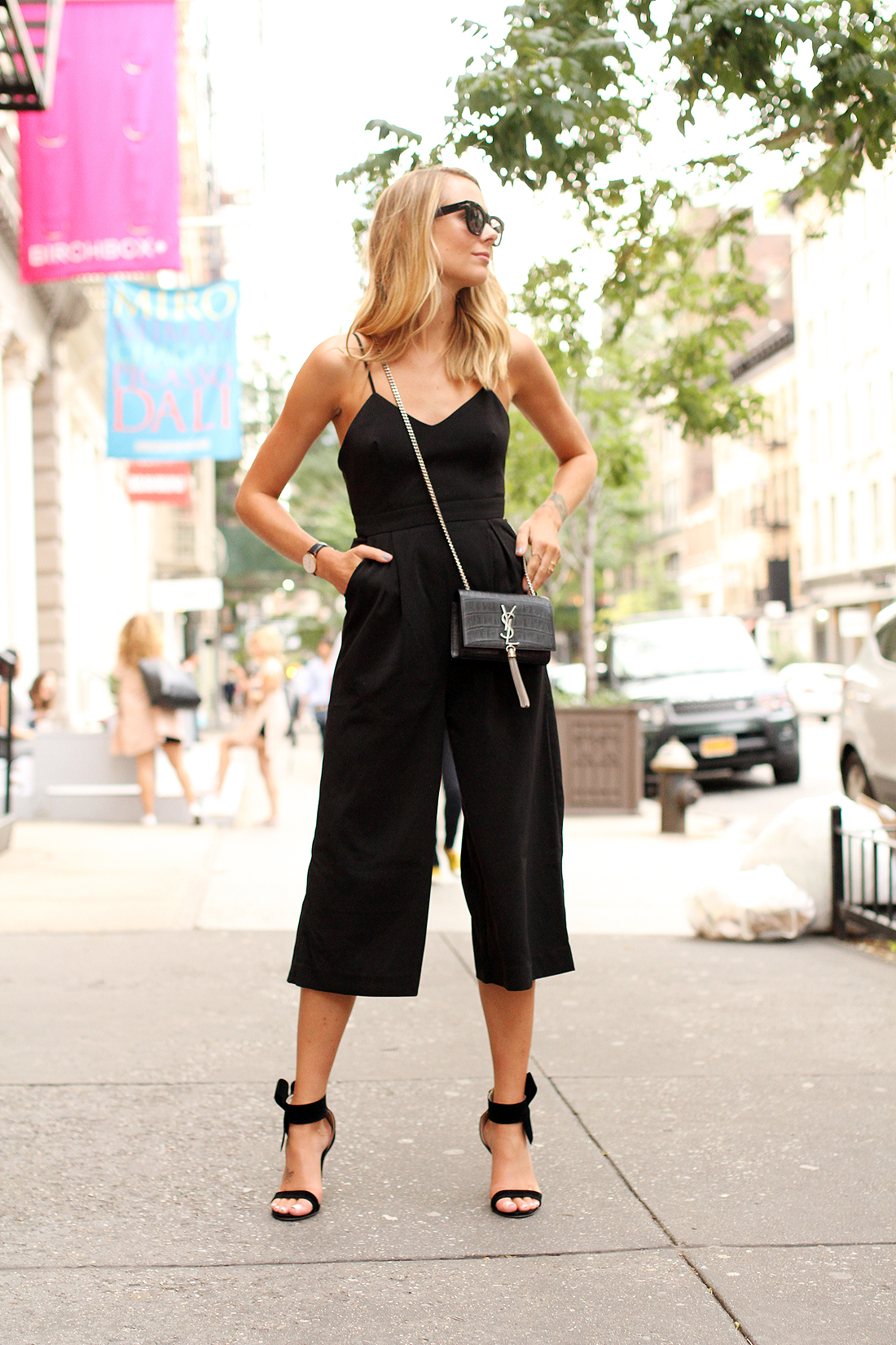 fashion-jackson-cameo-power-trip-jumpsuit-saint-laurent-cassandre-crossbody-handbag-black-bow-heels-street-style-nyfw