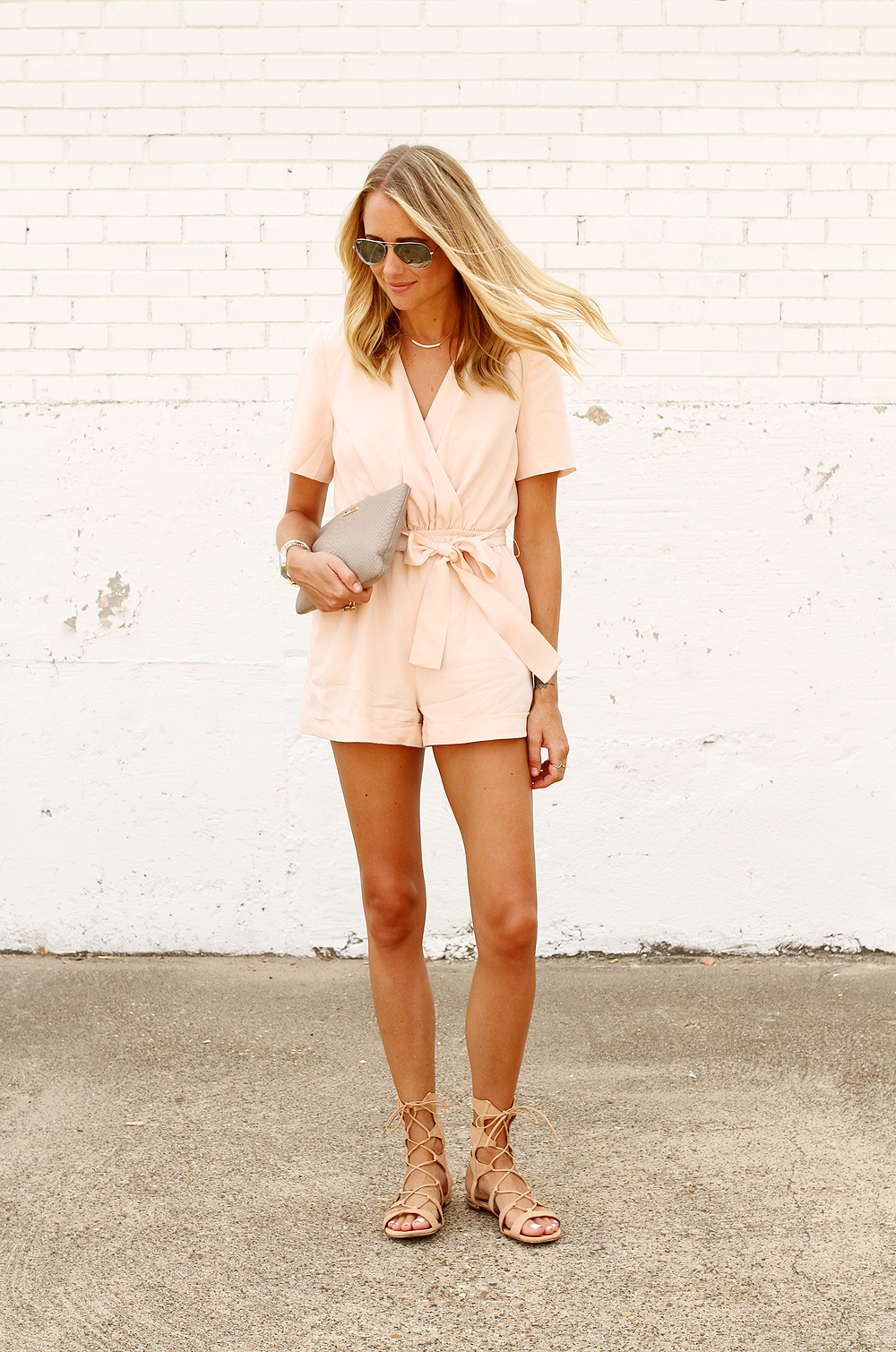 fashion-jackson-finders-keepers-rewind-pink-playsuit-romper-schutz-gladiator-lace-up-sandals-gigi-new-york-clutch-ray-ban-aviator-sunglasses