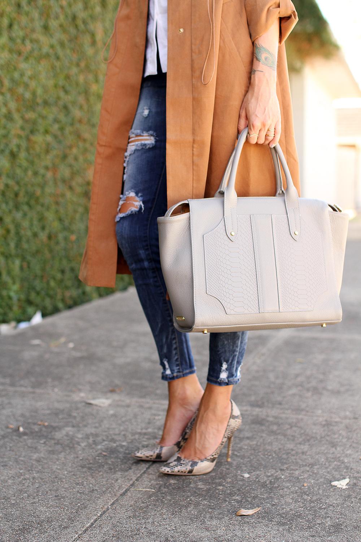fashion-jackson-french-connection-runaway-drape-maxi-coat-ripped-skinny-jeans-gigi-new-york-gates-satchel-slate-snake-print-pumps