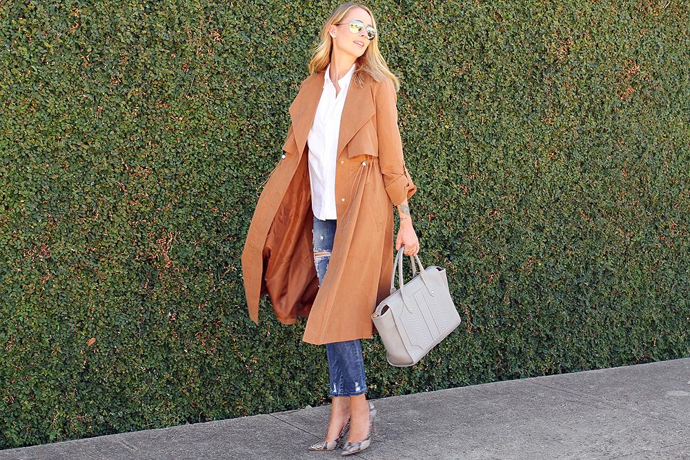 fashion-jackson-french-connection-runaway-drape-maxi-coat-ripped-skinny-jeans-white-button-up-shirt-snake-print-pumps-gigi-new-york-gates-satchel