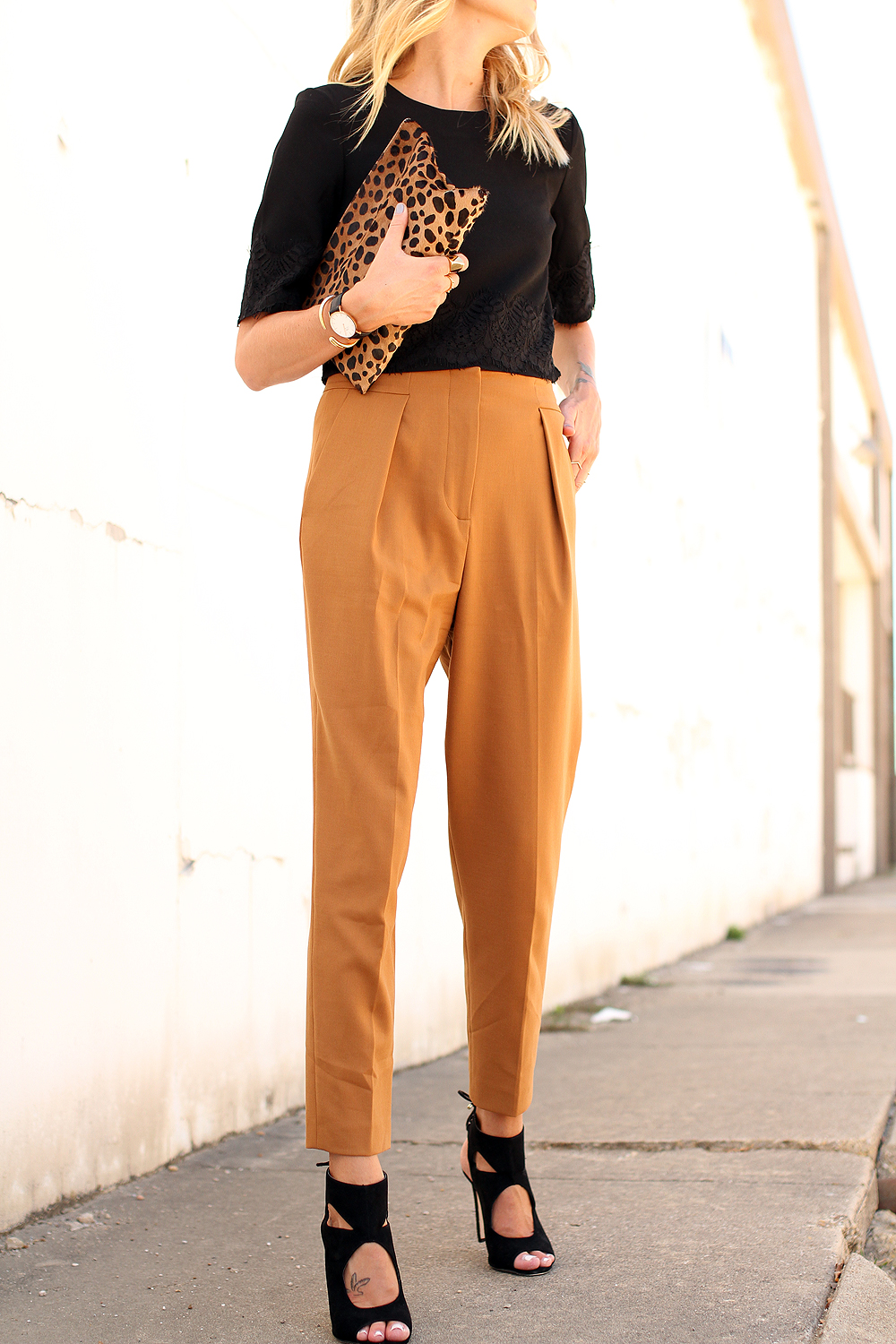 fashion-jackson-french-connection-trousers-french-connection-lace-crop-top-aquazzura-sexy-thing-similar-heels-clare-v-leopard-clutch-daniel-wellington-watch