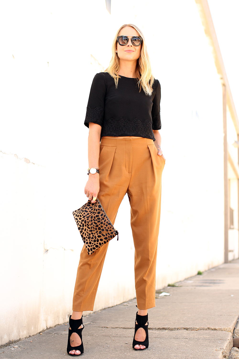 fashion-jackson-french-connection-trousers-french-connection-lace-crop-top-aquazzura-sexy-thing-similar-heels-clare-v-leopard-clutch-prada-sunglasses-daniel-wellington-watch