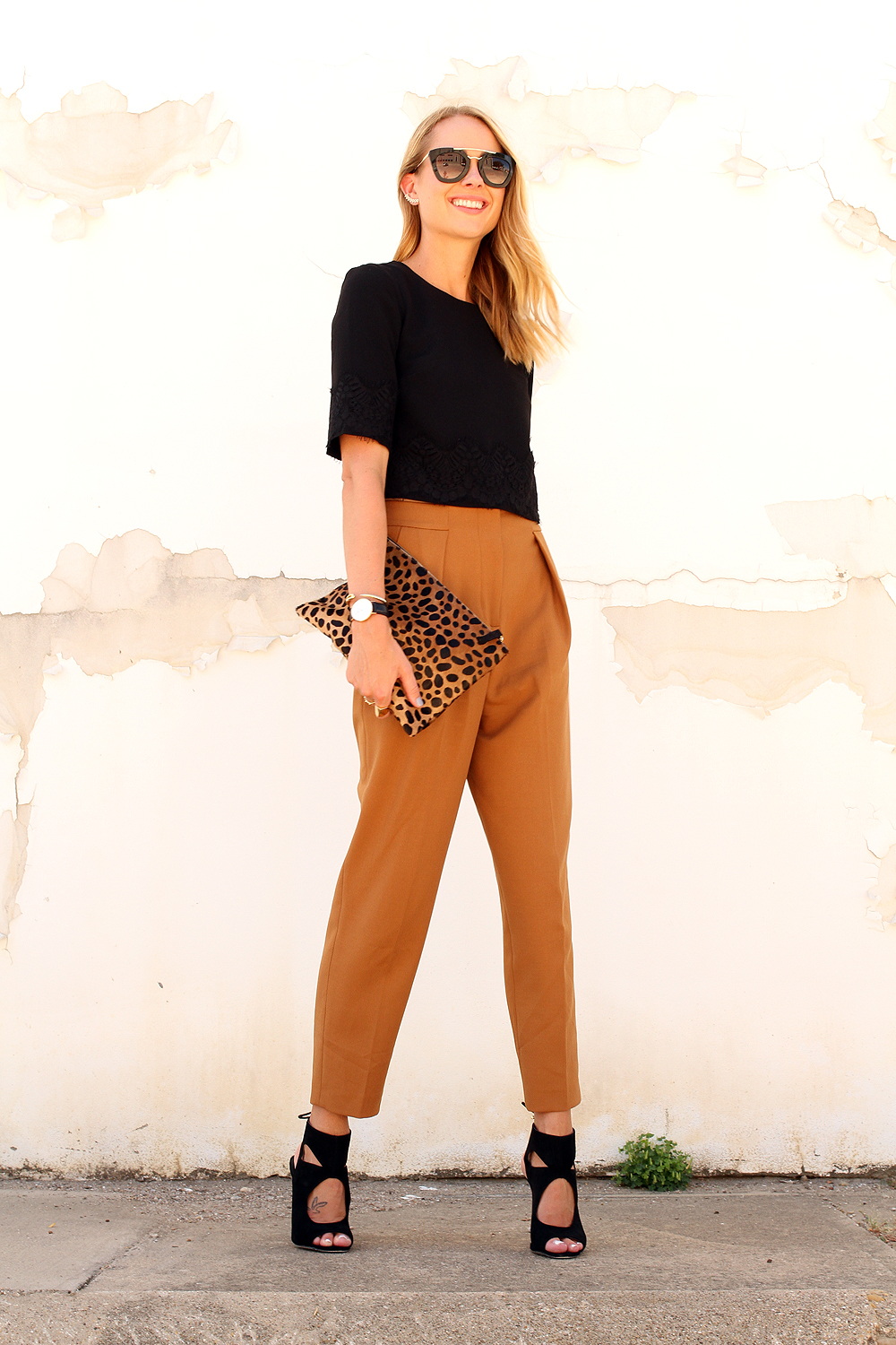 fashion-jackson-french-connection-trousers-french-connection-lace-crop-top-aquazzura-sexy-thing-similar-heels-prada-sunglasses-clare-v-leopard-clutch