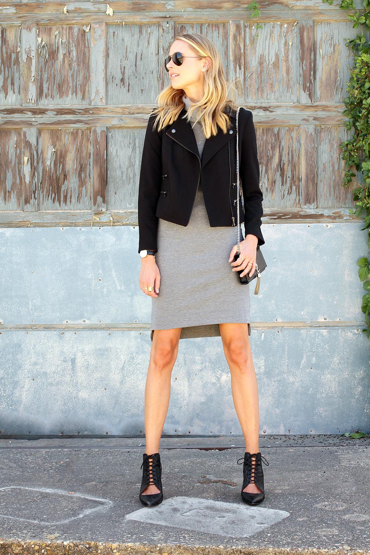 fashion-jackson-grey-turtleneck-dress-black-moto-jacket-black-lace-up-booties