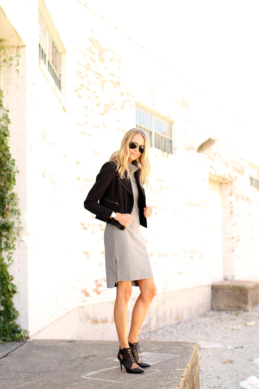 fashion-jackson-grey-turtleneck-dress-black-moto-jacket-black-ray-ban-aviator-sunglasses-black-lace-up-booties