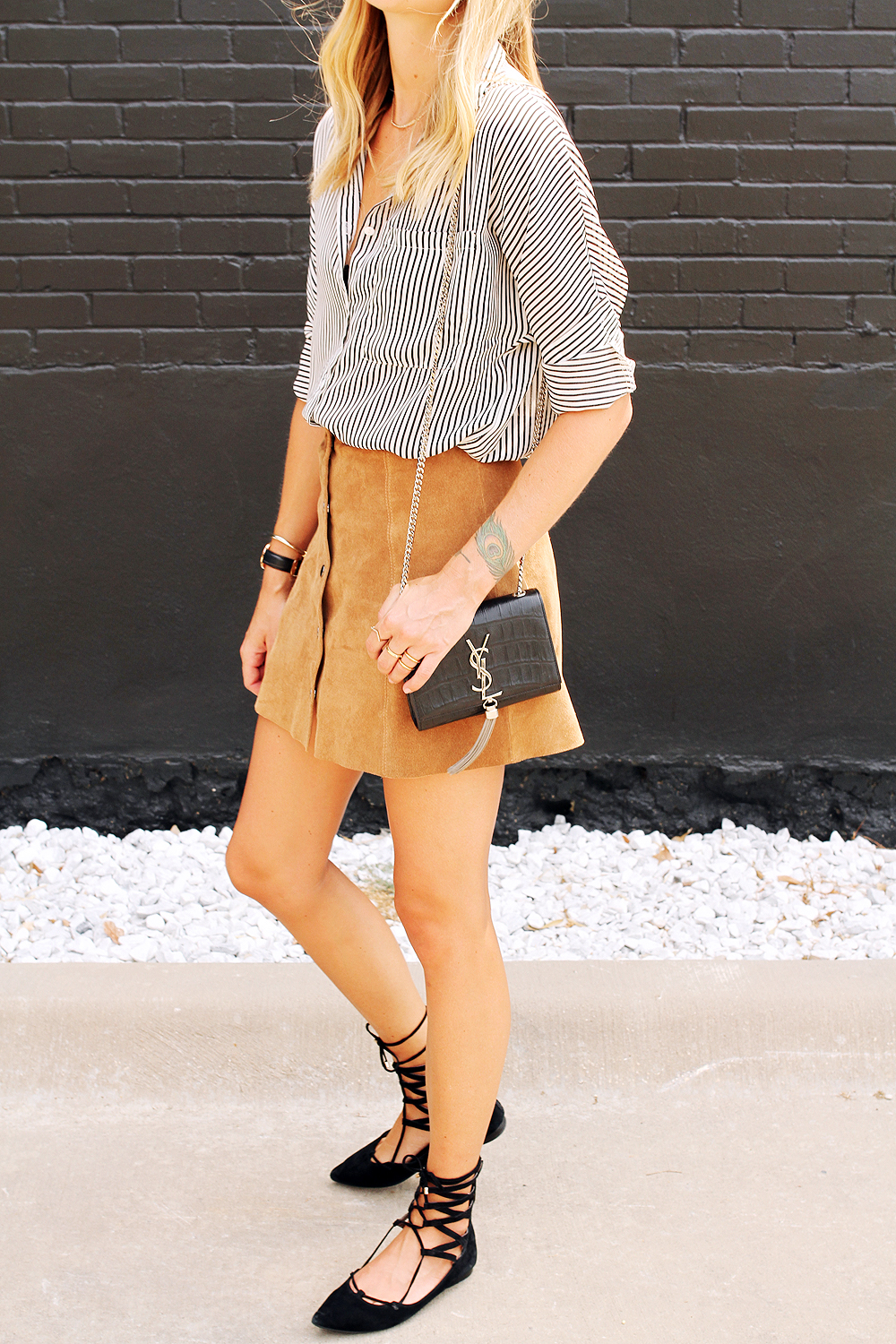 fashion-jackson-jeffery-campbell-black-lace-up-flats-black-and-white-stripe-shirt-topshop-tan-suede-button-front-skirt-ysl-cassandre-crossbody-handbag