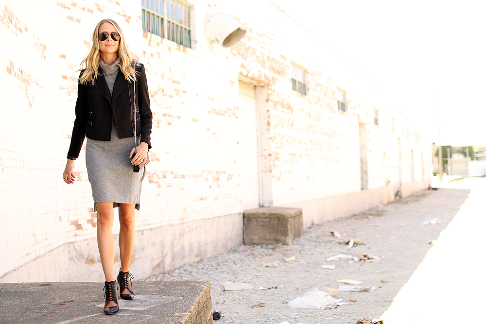 fashion-jackson-rayban-aviator-sunglasses-grey-turtleneck-dress-black-moto-jacket-black-lace-up-booties