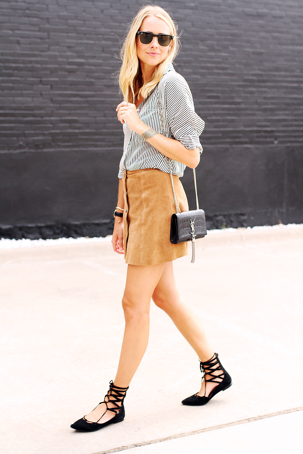 fashion-jackson-rayban-sunglasses-ysl-cassandre-crossbody-topshop-tan-suede-button-front-skirt-jeffery-campbell-black-lace-up-flats-black-and-white-stripe-shirt