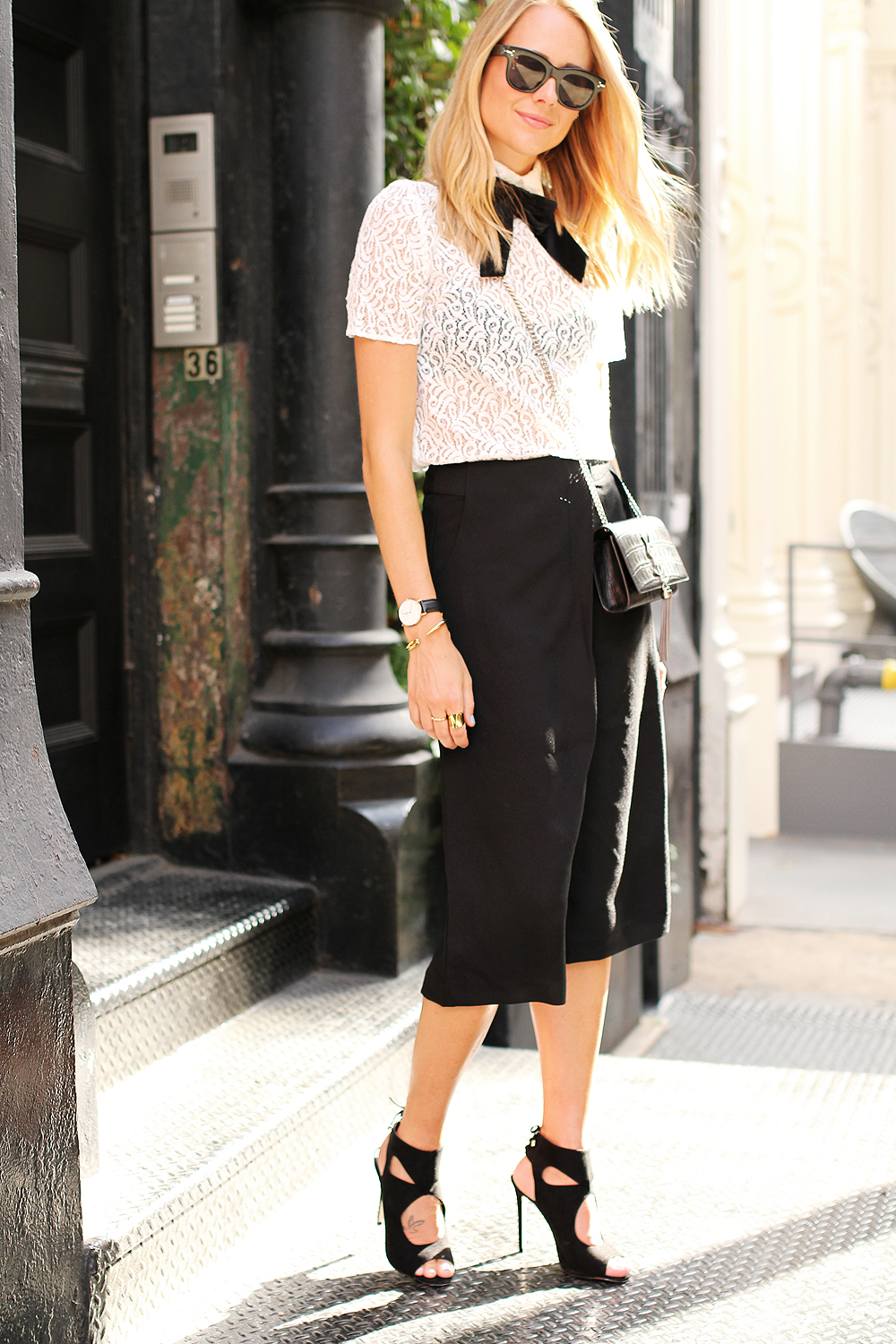 fashion-jackson-the-kooples-lace-top-cameo-the-label-culottes-black-aquazzura-sexy-thing-heels-similar-ysl-crossbody-celine-black-sunglasses