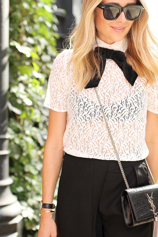 fashion-jackson-the-kooples-lace-top-ysl-crossbody-celine-black-sunglasses