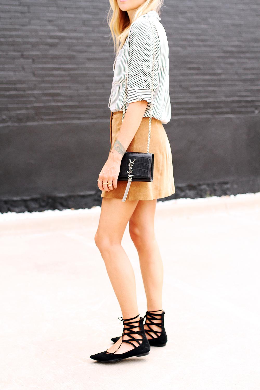 fashion-jackson-topshop-tan-suede-button-front-skirt-jeffery-campbell-black-lace-up-flats-black-and-white-stripe-shirt-ysl-black-cassandre-crossbody