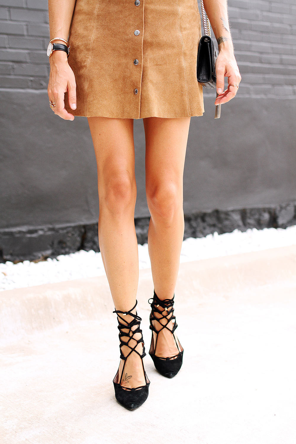 fashion-jackson-topshop-tan-suede-button-front-skirt-jeffery-campbell-black-lace-up-flats