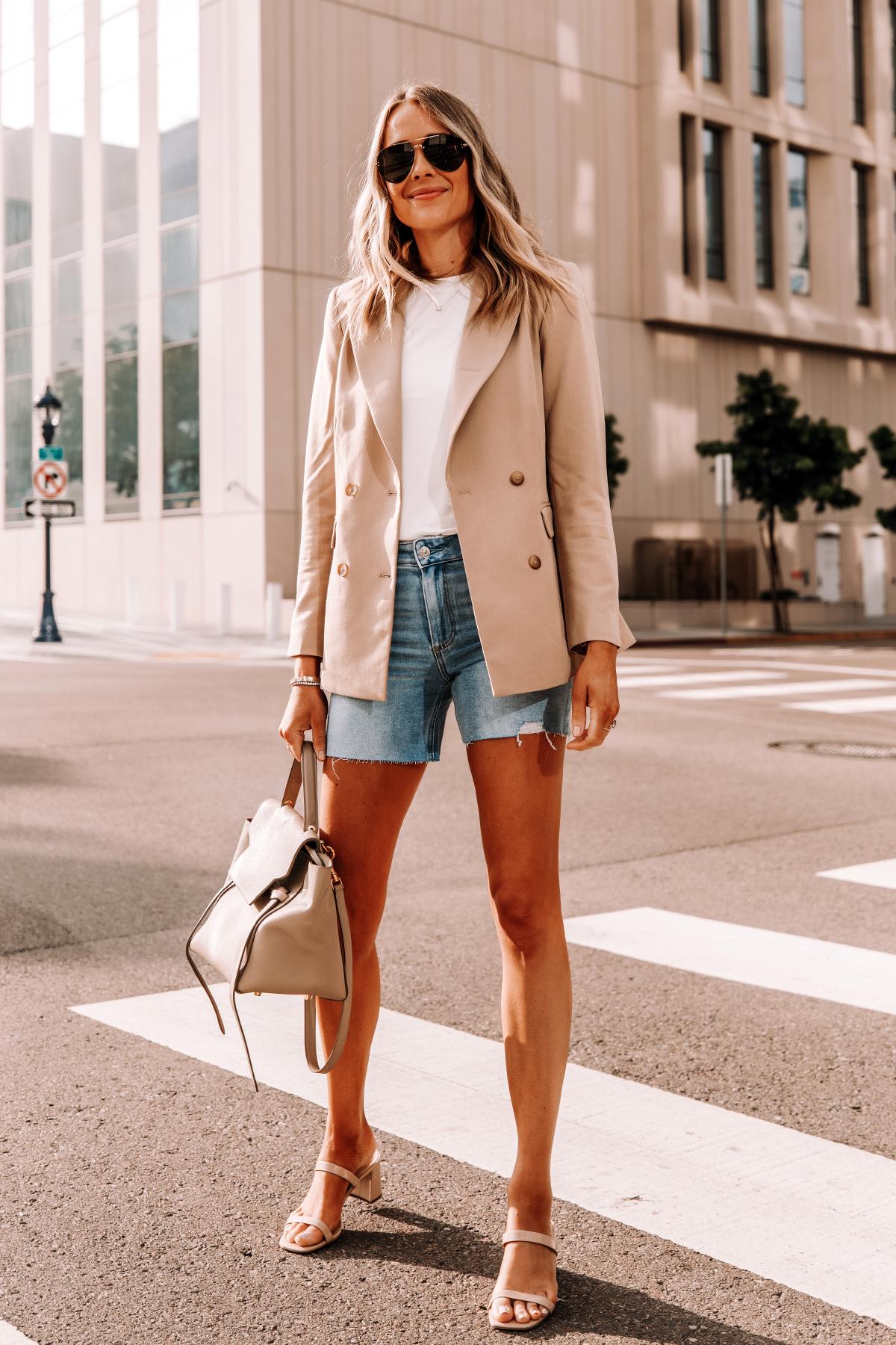 Fashion Jackson Wearing Tan Blazer White Tshirt Raw Hem Denim Shorts Tan Sandals Celine Belt Bag 2