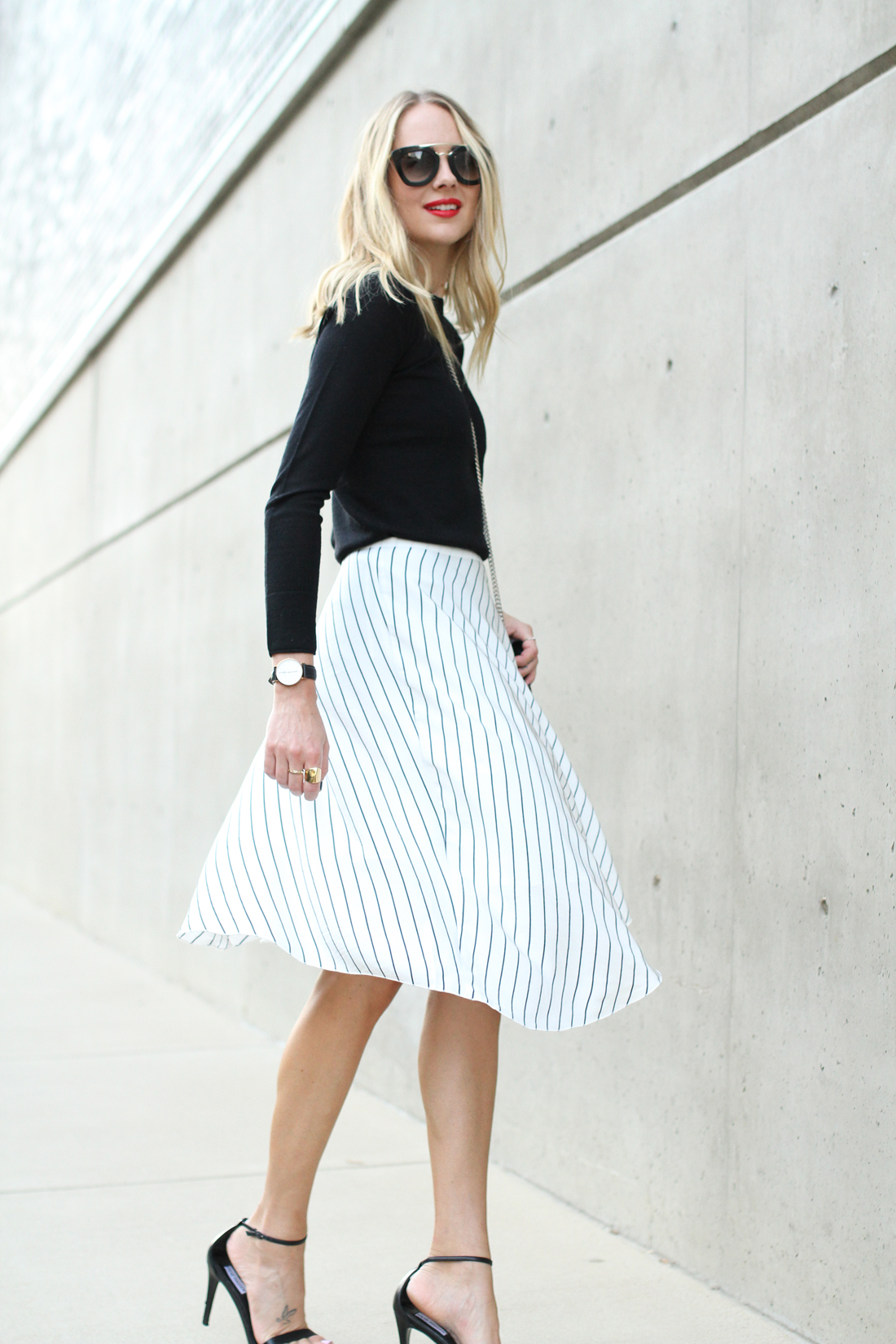 fashion-jackson-club-monaco-white-asymmetrical-skirt-black-sweater-prada-sunglasses