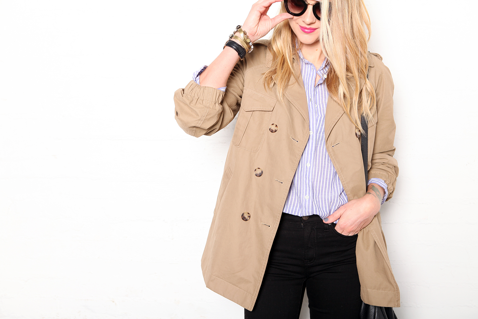 fashion-jackson-loft-cargo-swing-trench-jcrew-blue-white-stripe-shirt-black-skinny-jeans-prada-retro-sunglasses