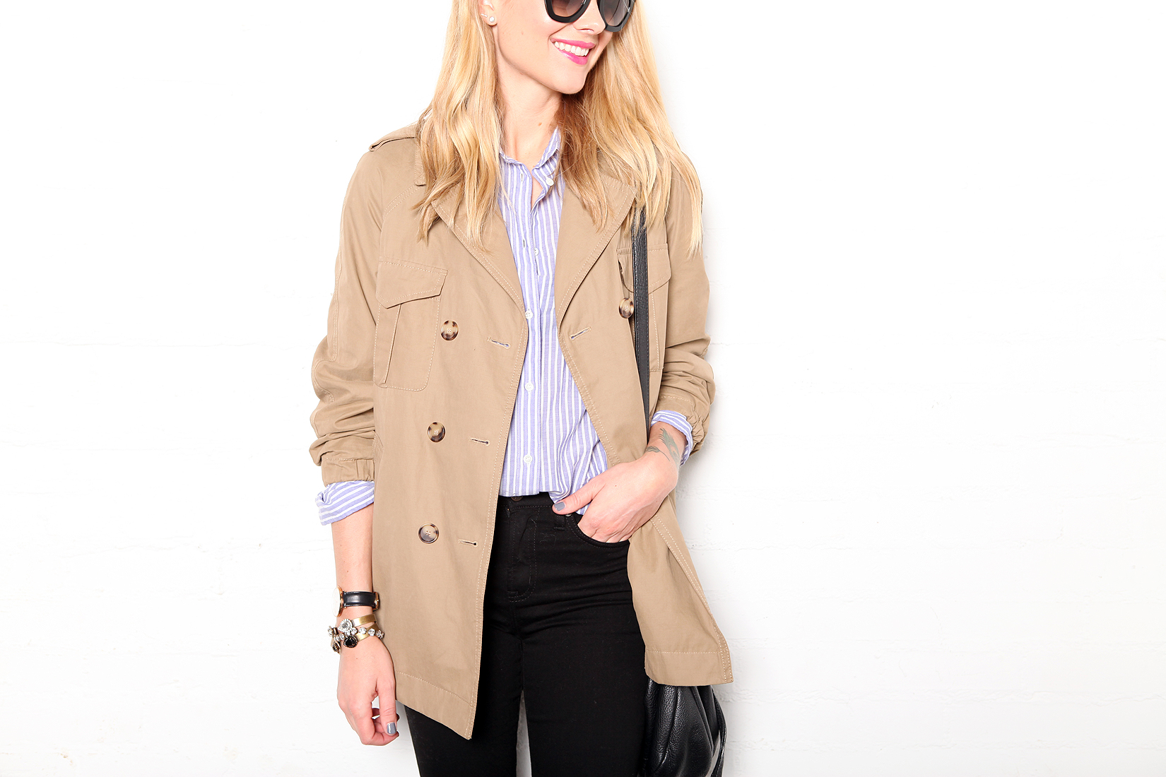fashion-jackson-loft-cargo-swing-trench-jcrew-blue-white-stripe-shirt-black-skinny-jeans
