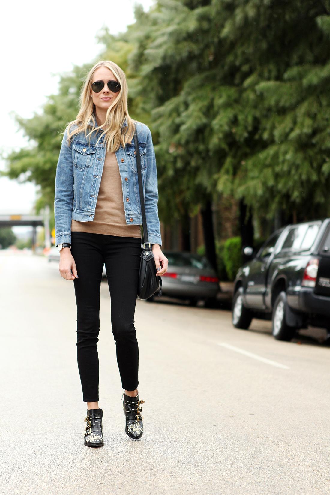fashion-jackson-ray-ban-black-aviator-sunglasses-jcrew-denim-jacket-black-skinny-jeans-chloe-susanna-booties