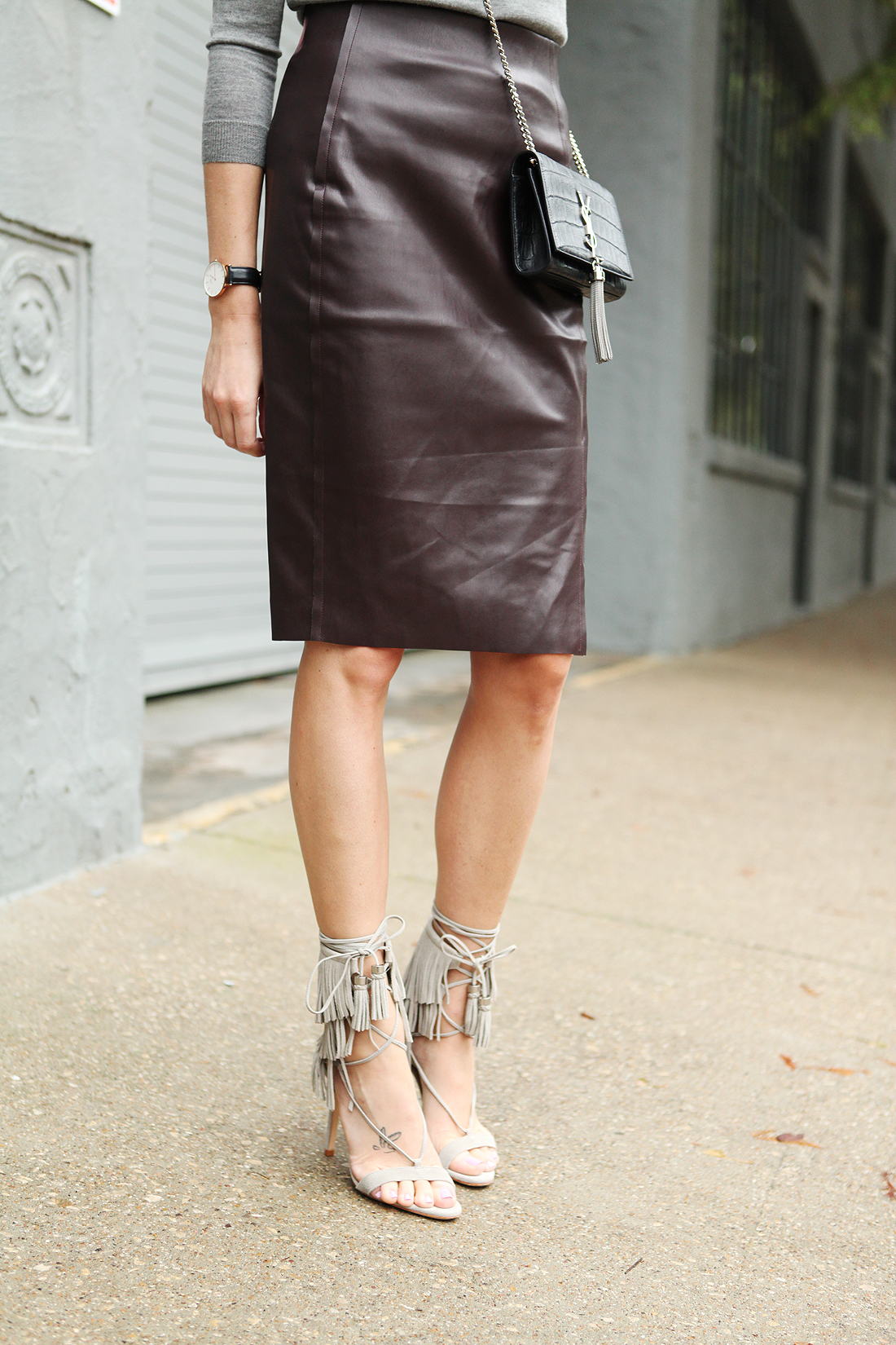 Faux Leather Sweater