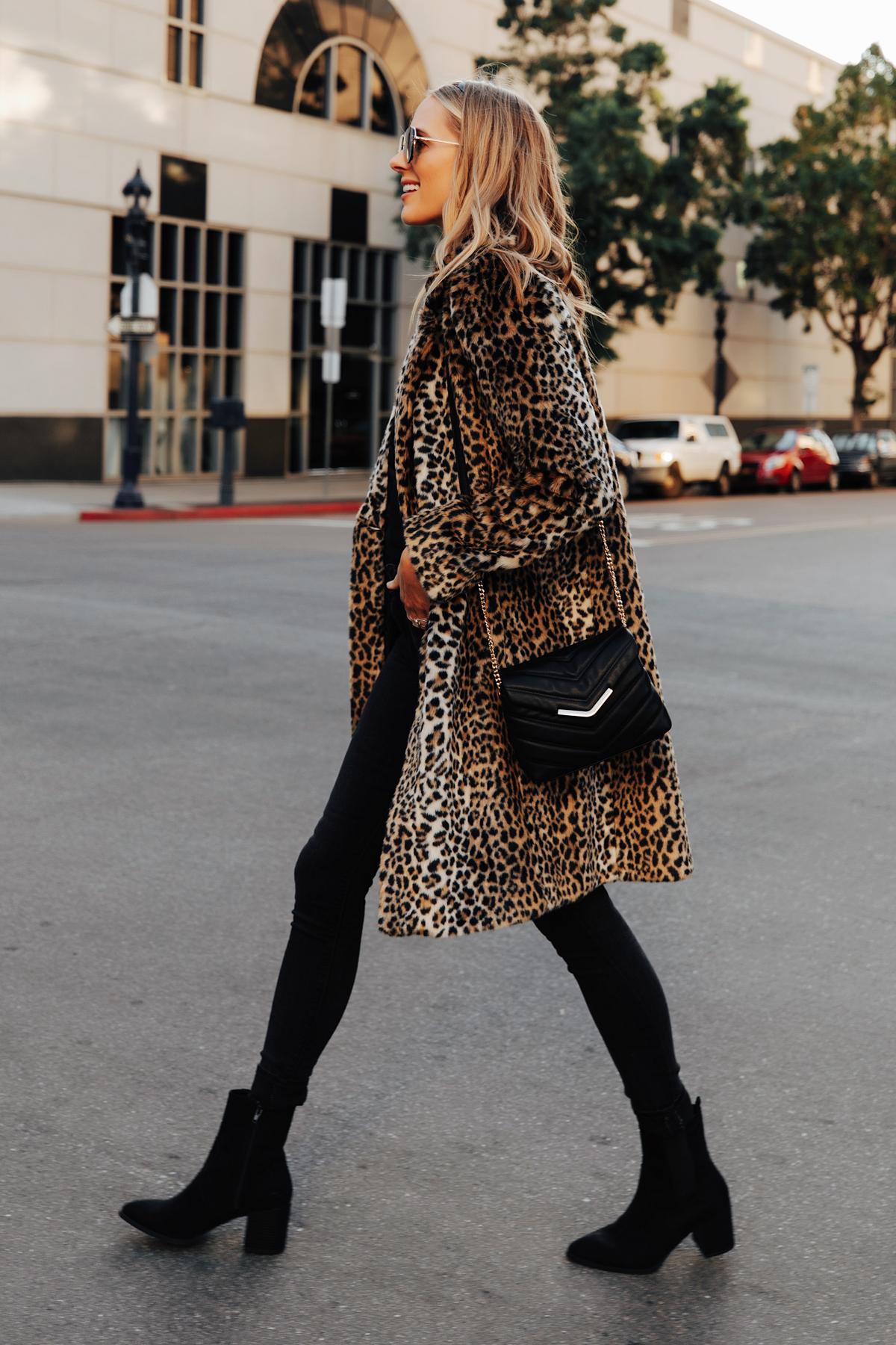 Fashion Jackson Wearing Express Faux Fur Leopard Coat Black Jeans Black Booties Christmas Outfit Idea