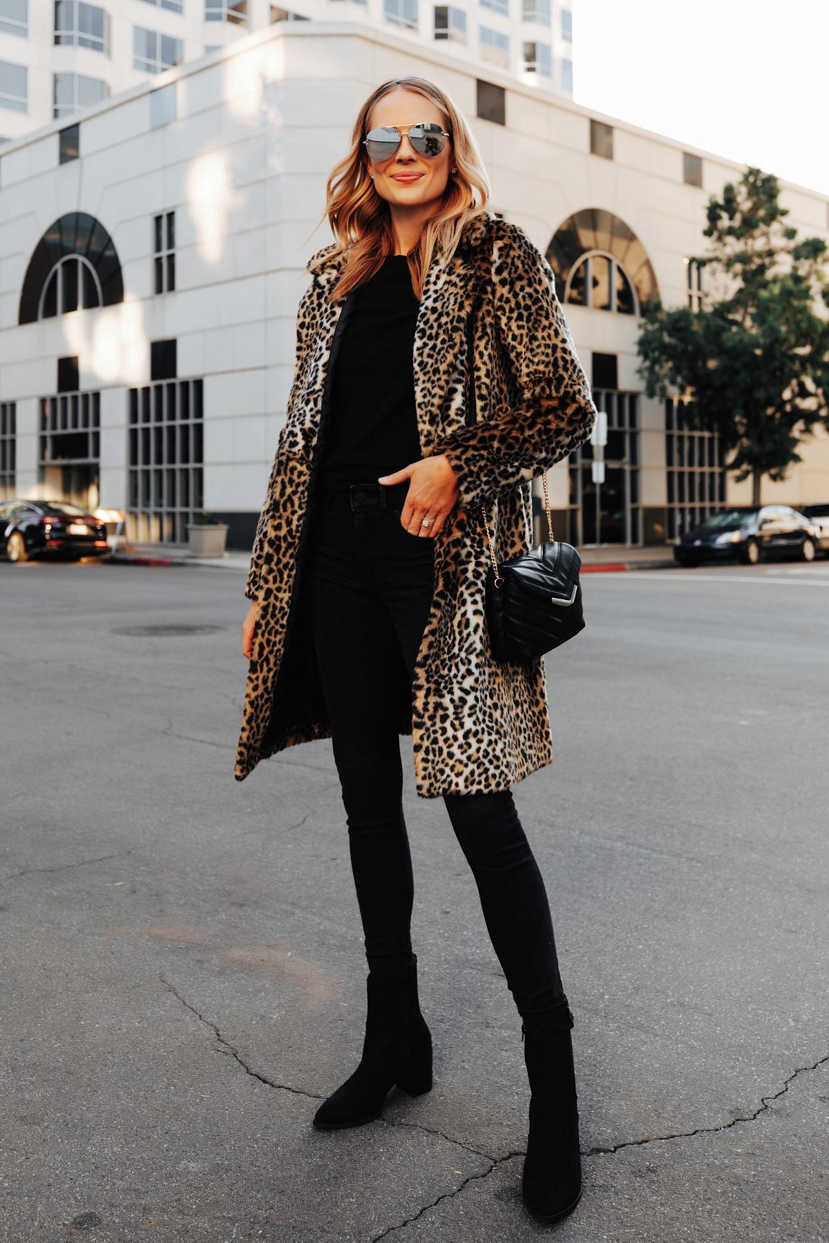 Fashion Jackson Wearing Express Faux Fur Leopard Coat Black Sweater Black Jeans Black Booties 1