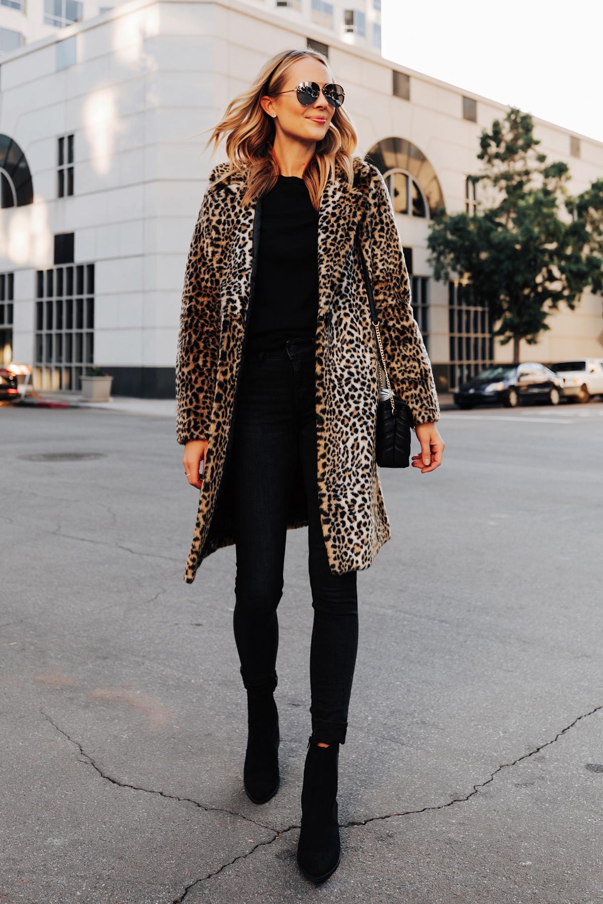 Fashion Jackson Wearing Express Faux Fur Leopard Coat Black Sweater Black Jeans Black Booties