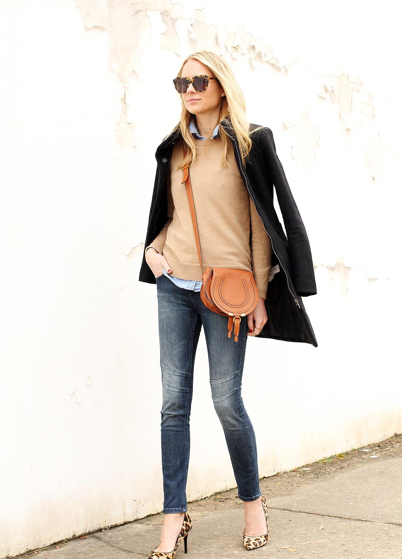 fashion-jackson-camel-sweater-leopard-pumps-moto-skinny-jeans-denim-shirt-black-wool-coat-chloe-marcie-handbag