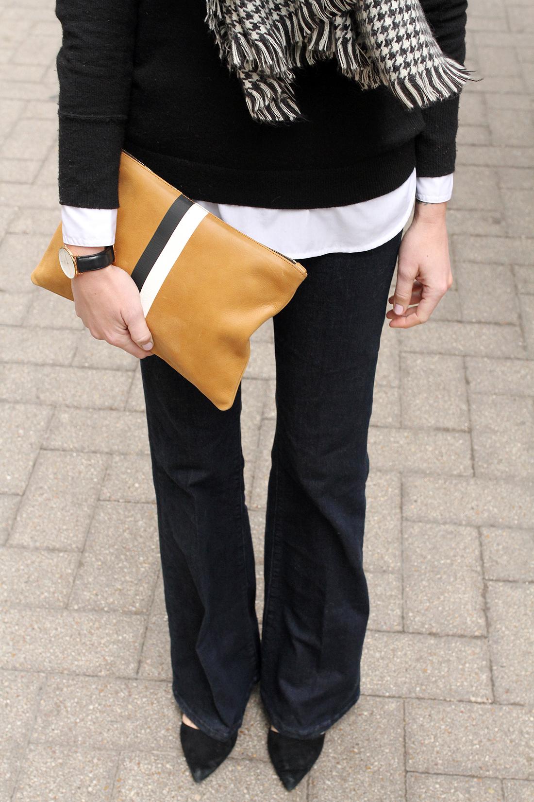 fashion-jackson-denim-flare-jeans-clare-v-clutch-houndstooth-scarf
