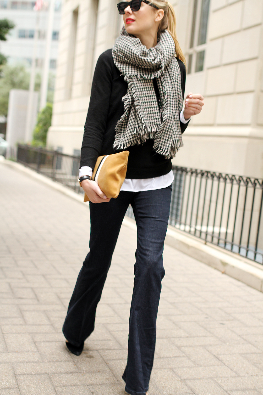 fashion-jackson-denim-flare-jeans-houndstooth-scarf-clare-v-clutch