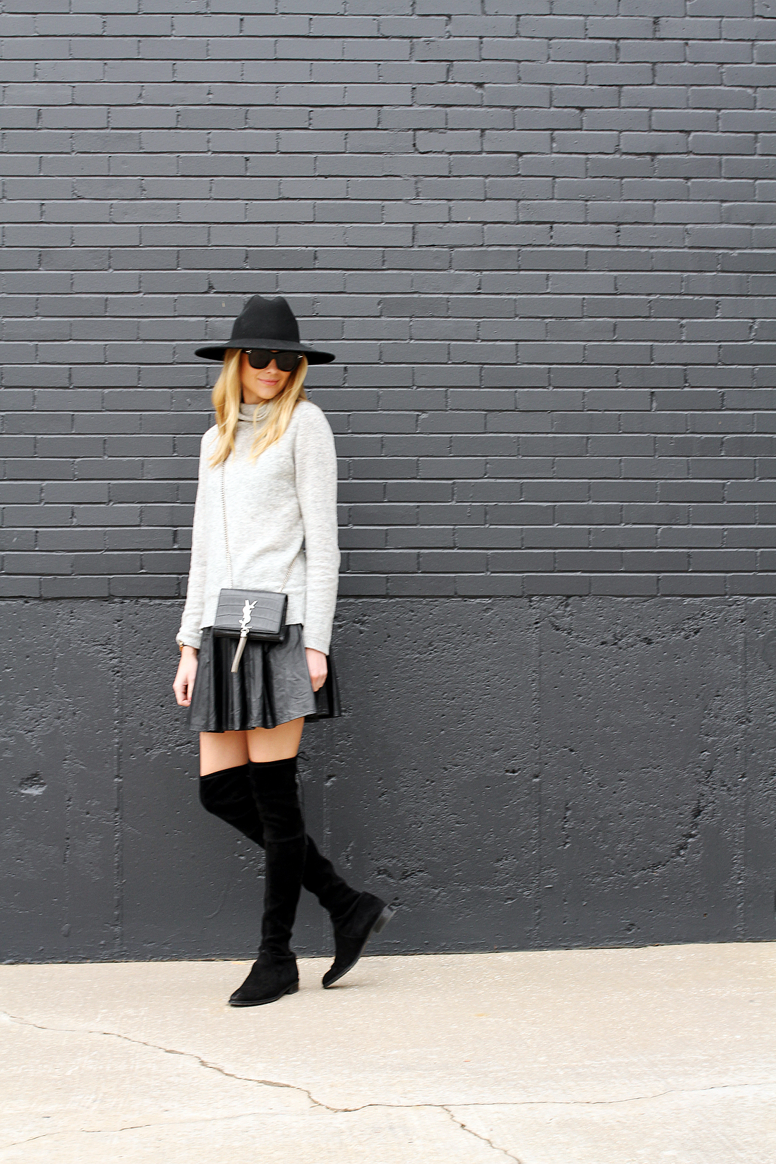 fashion-jackson-grey-sweater-black-pleated-skirt-black-otk-boots-black-wool-hat-ysl-monogram-crossbody